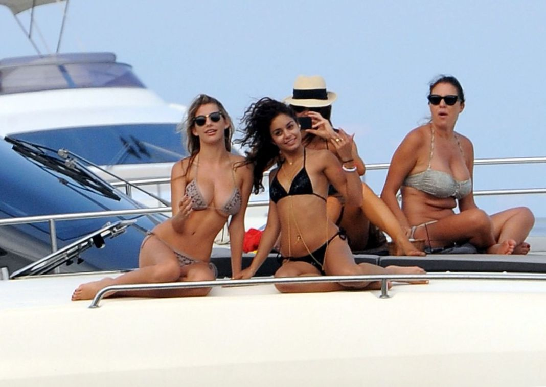 Vanessa Hudgens on a boat with friends