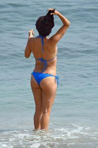 Eva Longoria looks stunning in a two piece blue bikini