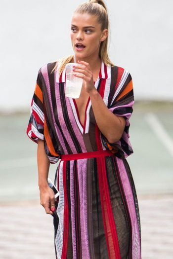 Nina Agdal spotted on set of a photo shoot in New York