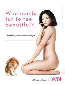 Actress Olivia Munn is seen posing in a poster for the latest campaign of People for the Ethical Treatment of Animals (PETA) Animal Rights group