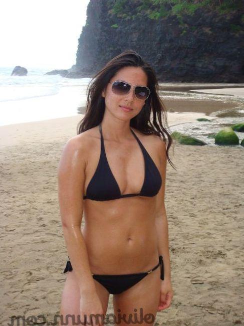 Olivia Munn in black bikini