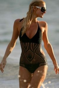 Paris Hilton in black bikini