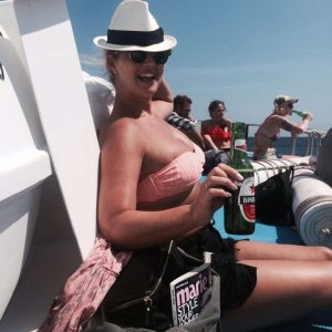 Hayley McQueen on yacht